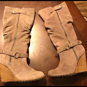 Shoes - 8.5 tan leather boots. Wedge heels